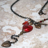 Natural Brass Murano Heart Necklace