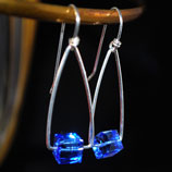 Hip Triangle Sterling Hoop Earrings